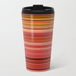 """Pink lines burlap"" Travel Mug"
