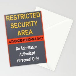 Restricted Security Area Stationery Cards