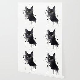 Black cat watercolor Wallpaper