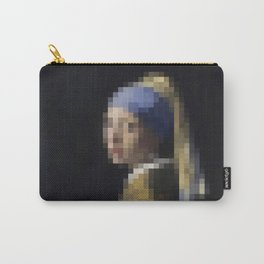 Vermeer Girl with a Pearl Earring - Pixel Art Carry-All Pouch
