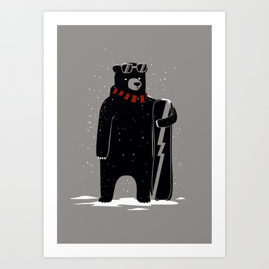 Bear on snowboard Art Print