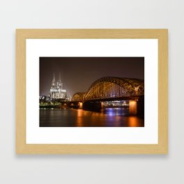 Hohenzollerrn bridge and dom in Cologne Framed Art Print