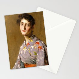 12,000pixel-500dpi - William Merritt Chase - Girl In A Japanese Costume - Digital Remastered Edition Stationery Cards
