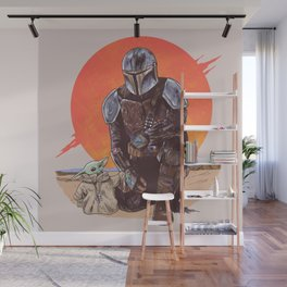 """""""The Mandalorian and The Child"""" by Hillary White Wall Mural"""