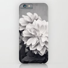Black and White Dahlia Flower Photography, Grey Floral, Gray Neutral Nature Petals iPhone 6s Slim Case