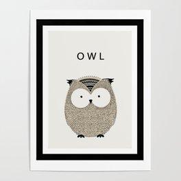 Cute hand drawn owl design Poster