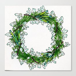 Snow drop flowers, green tourmaline crystals and garnet holiday wreath Canvas Print