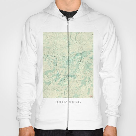 Luxembourg Map Blue Vintage Hoody
