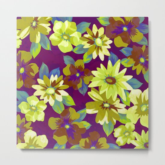floral pattern on purple background Metal Print