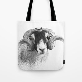 Black and which moorland sheep Tote Bag