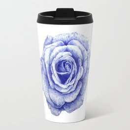 Ballpoint Blue Rose Travel Mug