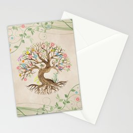 Tree of Life - Yggdrasil - Watercolor Flowers Stationery Cards