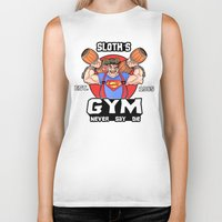 the goonies Biker Tanks featuring Sloth Gym Funny Goonies Fitness by Workout Quotes