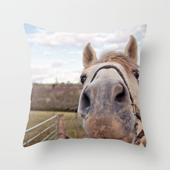 look at my horse... Throw Pillow