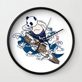 Surfin panda Wall Clock