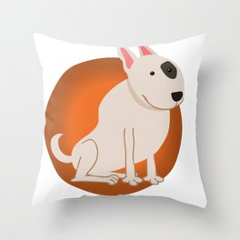Bull Terrier Illustration Throw Pillow