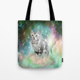 Purrsia Kitty Cat in the Emerald Nebula of Innocence Tote Bag