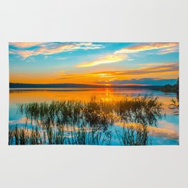 Sunset on the river Rug