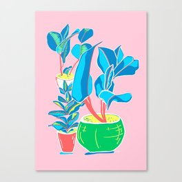 Perky Plants - Pink Blue Multi Canvas Print