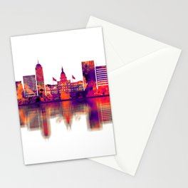 Lansing Michigan Skyline Stationery Cards