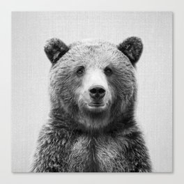 Grizzly Bear - Black & White Canvas Print