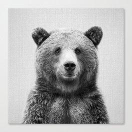 Grizzly Bear - Black & White Canvas Print