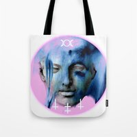 goddess Tote Bags featuring GODDESS by RSRRRCT clothing