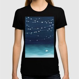 Garlands of stars, watercolor teal ocean T-shirt