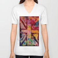 union jack V-neck T-shirts featuring Union Jack  by ChandaElaine
