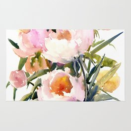 Soft Pink Peonies Asian watercolor Peonies, soft pink, olive green Rug