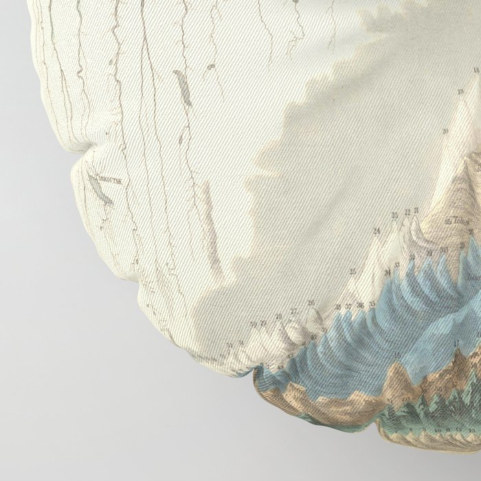 1854 Comparative Lengths of Rivers and Heights of Mountains Floor Pillow