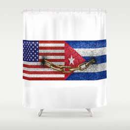United States and Cuba Flags United Shower Curtain