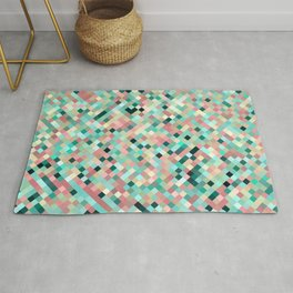 candace - mint green and petal pink mosaic  design Rug