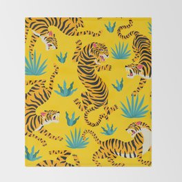Yellow Tiger Tropical Pattern Throw Blanket