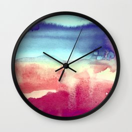 Tie-Dye Watercolor Blues, Greens, Pale Yellow, Dark Pinks Abstract Design Wall Clock