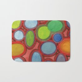 Abstract Moving Round Shapes Pattern Bath Mat