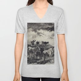 A Cowherd Driving Cattle - Digital Remastered Edition Unisex V-Neck