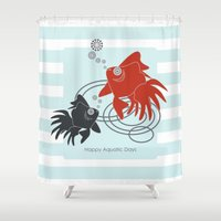 the life aquatic Shower Curtains featuring Happy Aquatic Days by Wind-Up Sprout Design