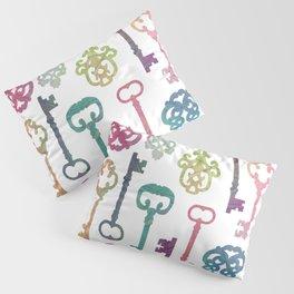 Rainbow Keys on White Pillow Sham