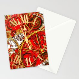RED-WHITE ABSTRACT GOLDEN STEAMPUNK CLOCK WORKS Stationery Cards