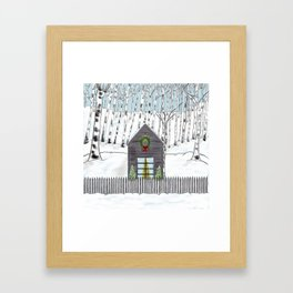 Christmas Cabin In The Snowy Woods Framed Art Print