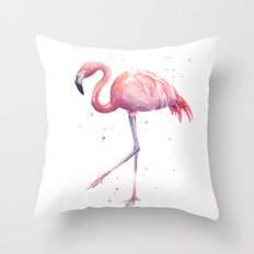 Flamingo Watercolor Pink Bird Throw Pillow