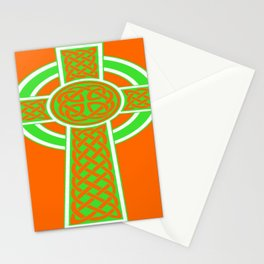 St Patrick's Day Celtic Cross Green and White Stationery Cards