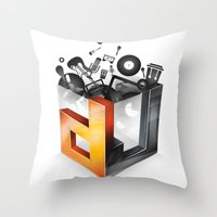 dj Throw Pillows featuring DJ by DeanDesign