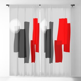 A Place I Remember - Abstract - Black, Gray, Red, White Blackout Curtain