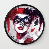 harley Wall Clocks featuring Harley Quinn NYCC 2014 by fabvalle
