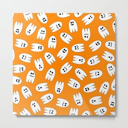 Ghosts Halloween Pattern Metal Print