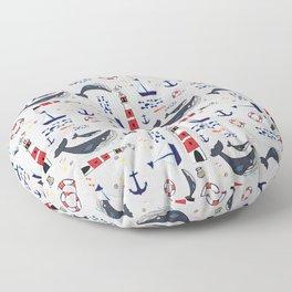 Ocean Blue Whale Grey Floor Pillow