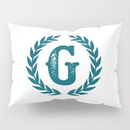 Dark Teal Monogram: Letter G Pillow Sham