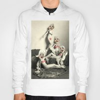 nudes Hoodies featuring RECLINING NUDE CLOWNS (censored) by Julia Lillard Art